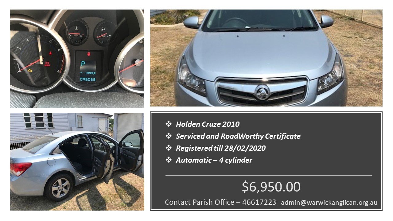 flyer for sale of 2010 holden cruze parish vehicle october 2019