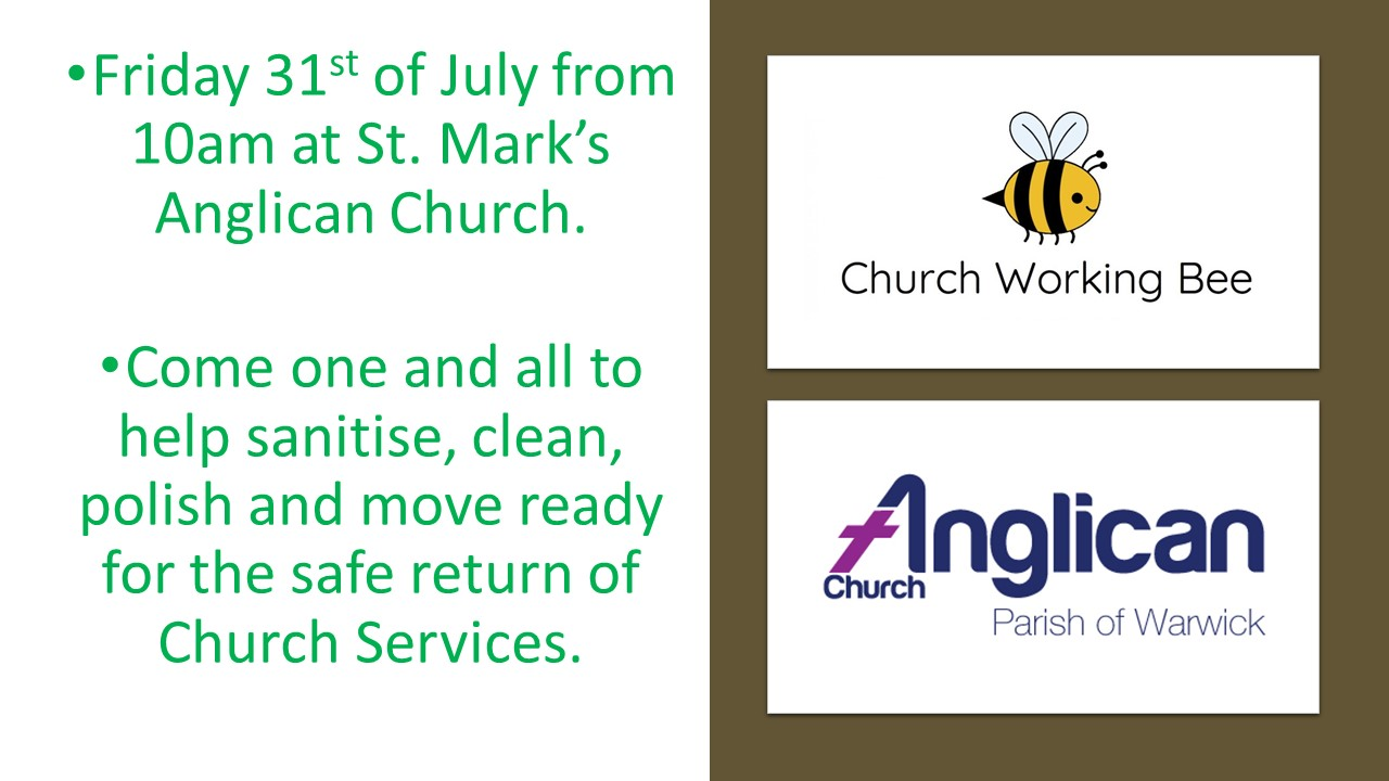 working bee covid safe return church july 2020